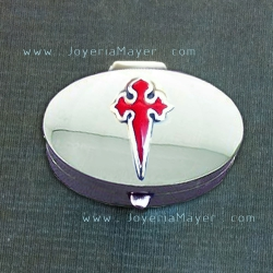 Cajita pastillero de plata con cruz de Santiago