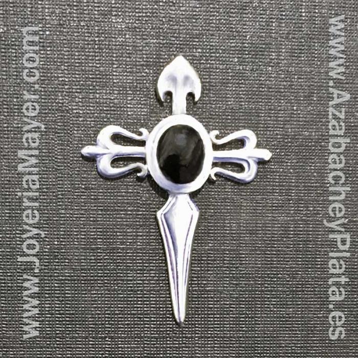 Pin cruz de Santiago de plata y azabache