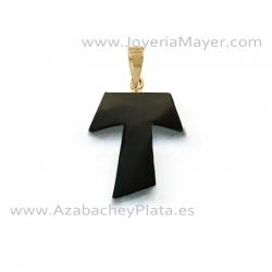 Cruz Tau de oro y azabache
