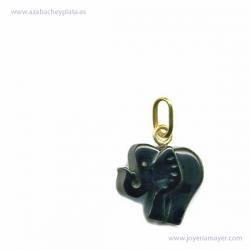 Colgante elefante de azabache y oro