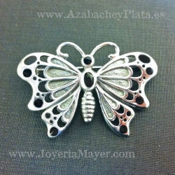 Broche mariposa de plata y azabache