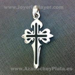 Cruz de Santiago de plata y azabache