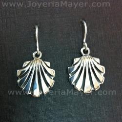 Silver earrings shell slender Compostela